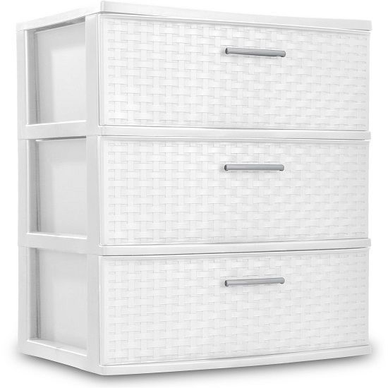 Sterilite Dresser Storage 3 Drawer Box Cabinet Plastic Cart Clothes Organizer Dresser Storage Drawer Box Storage Unit Organization