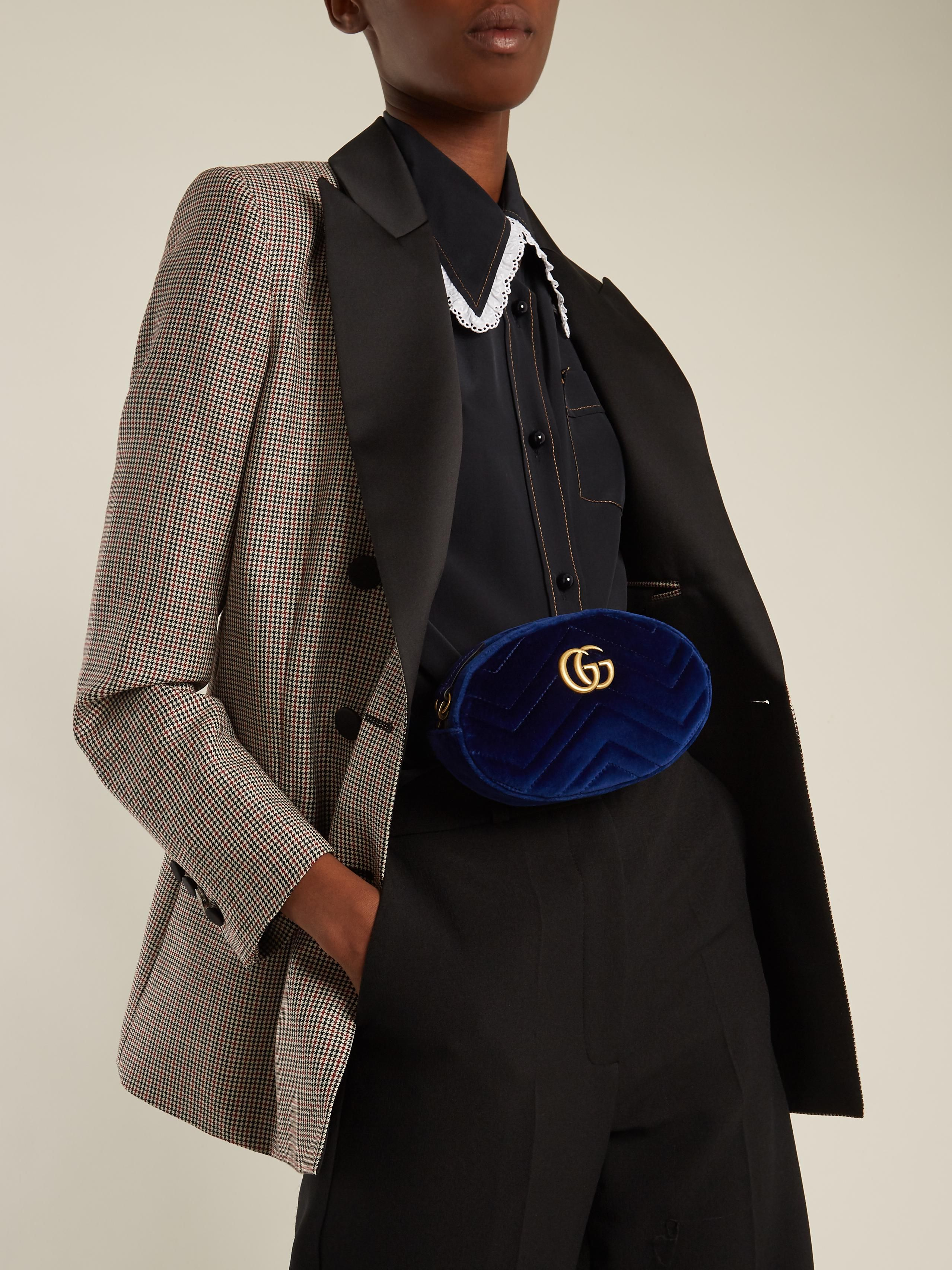 7baa811ccce9 Lyst - Gucci Gg Marmont Quilted-velvet Belt Bag in Blue