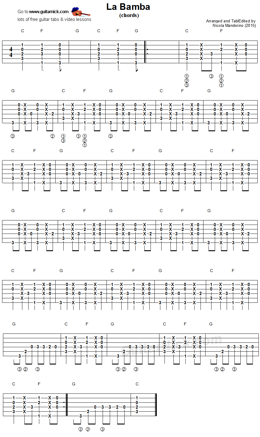 La Bamba guitar chords   Guitar lessons, La bamba, Easy guitar