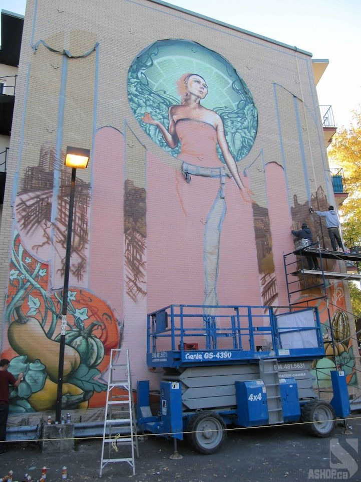 Massive Art Nouveau-Inspired Mural in Montreal - My Modern Met