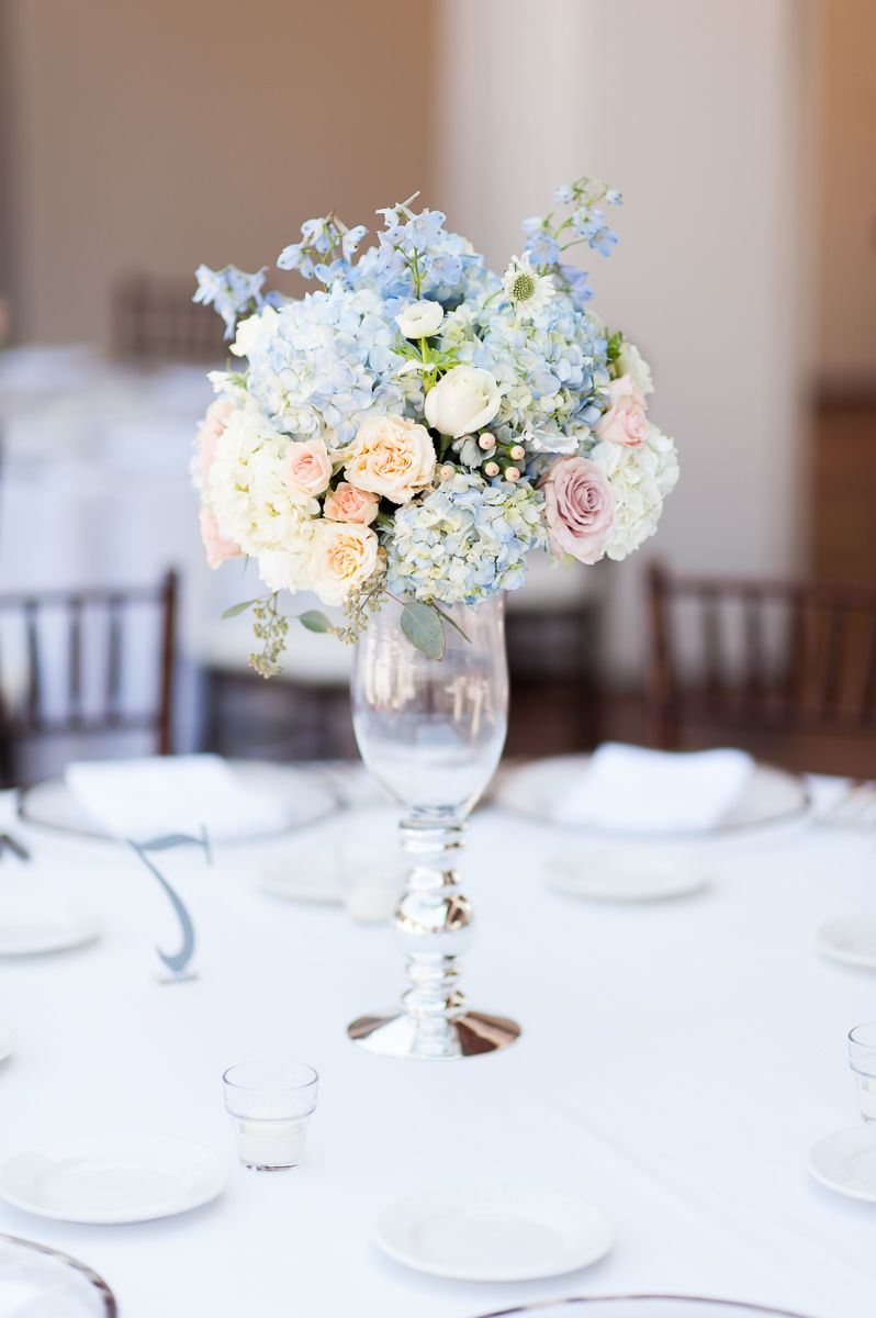 Emlily Floral Tall Wedding Centerpiece With Peach And Blue Flowers