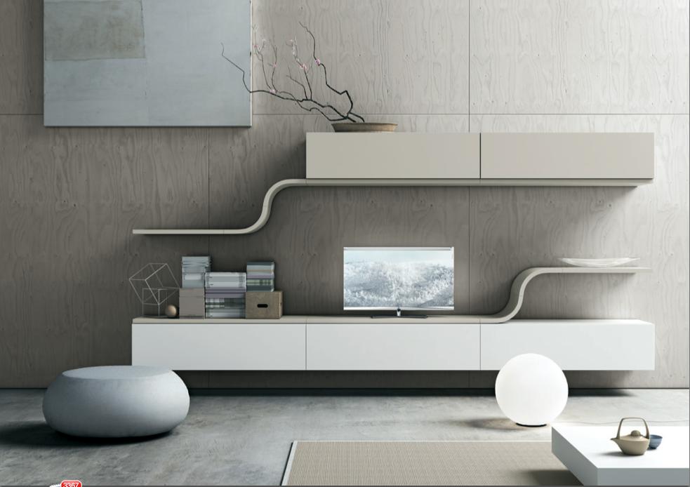 mueble tv blanco y gris