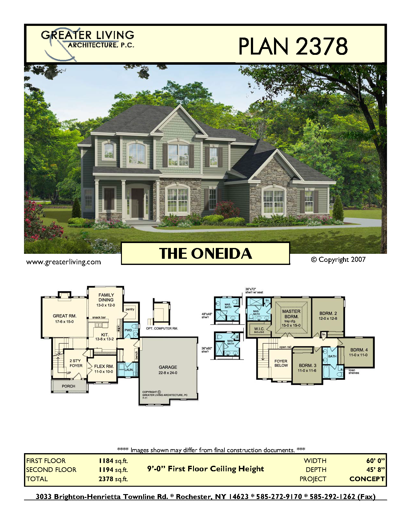 Plan 2378 The Oneida House Plans Two Story House