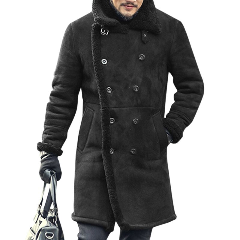 680dce4afadd ChArmkpR Mens Mid Long Faux Leather Coat Winter Warm Fur Leather Double- breasted Suede Jacketsales-NewChic Mobile