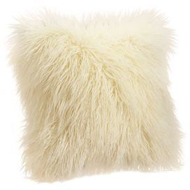 Faux Mongolian Lamb Fur Pillow In Ivory With A Removable Cover