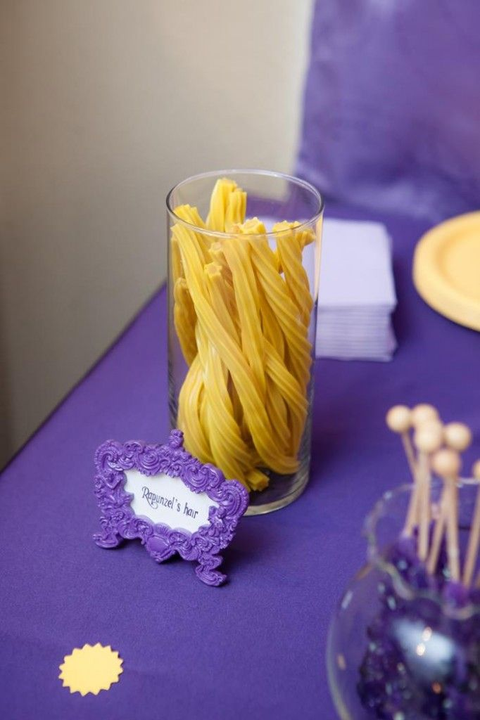 """Tangled Birthday Party idea for candy. Rapunzel's """"hair!""""  Cute!"""