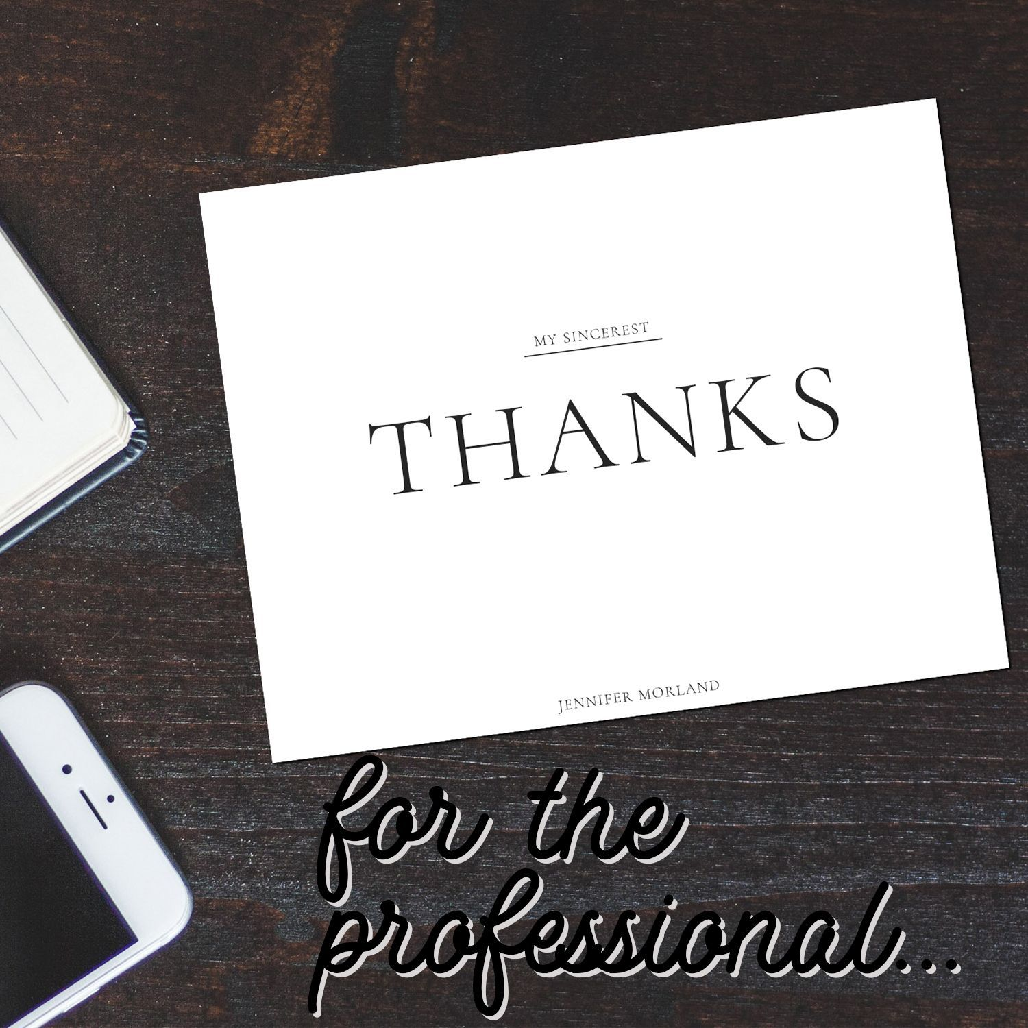 Professional Classy Thank You Card Ideas For The Working Women This Style Is Excellent For Business Or Personal Use From Thank You Cards Custom Notes Cards