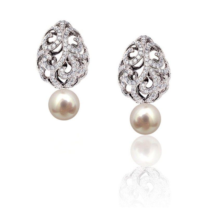 Whispering Teardrop Earrings by Fei Liu White Gold Diamond Pearl