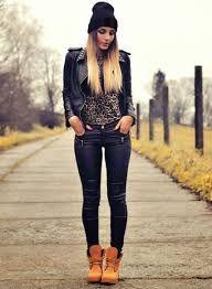 Resultado de imagen para moda hipster con botas timberland mujer