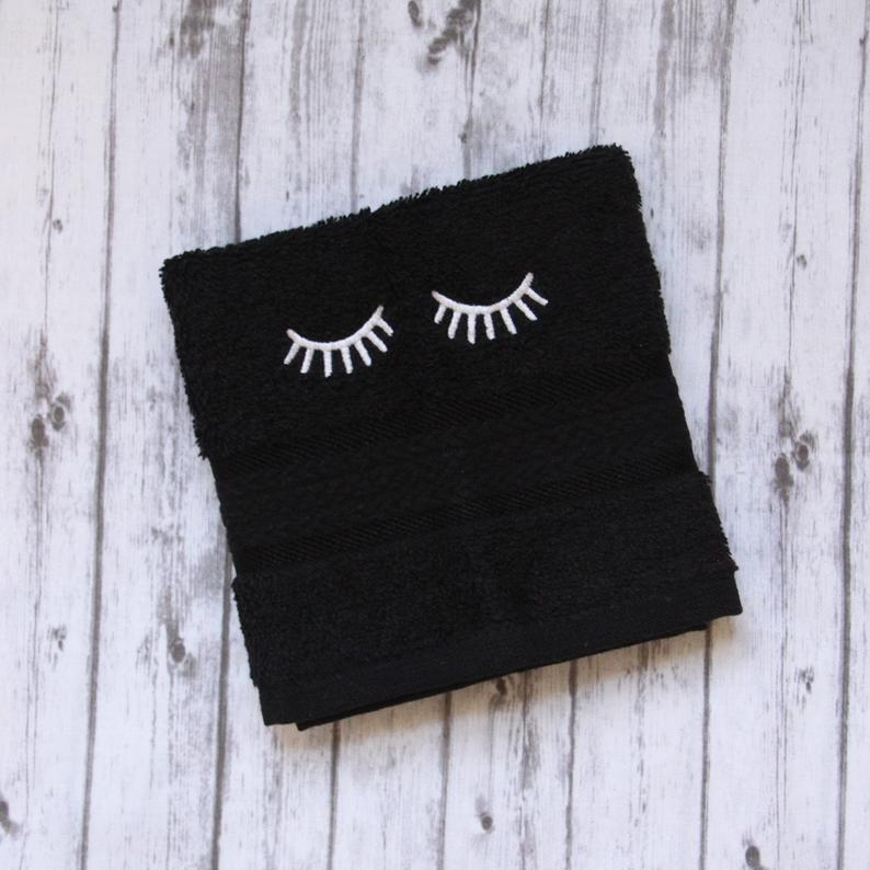 Makeup washcloth black makeup towel embroidered bath wash