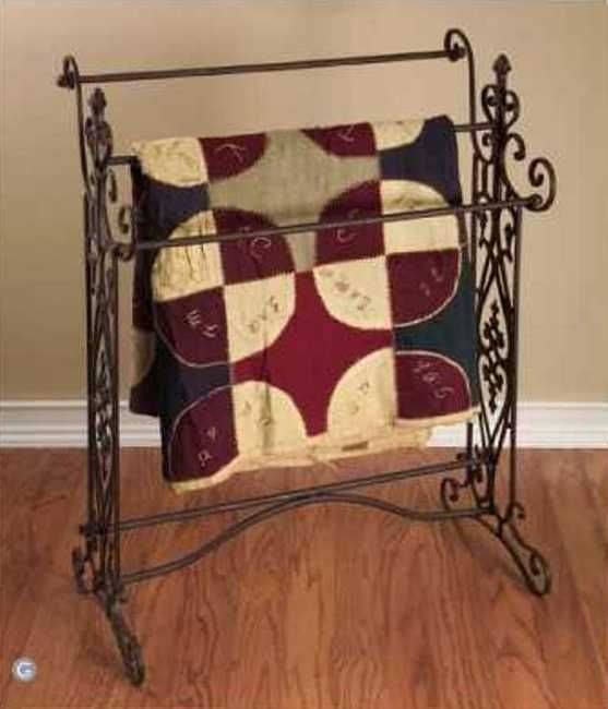 Tuscan French Country Scrolled Iron Quilt Towel Rack Quilt Rack Shabby Chic Towels Bathroom Towel Decor