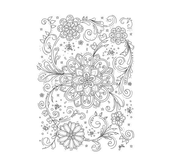 adult coloring page - Flower Swirls - coloring pages ...