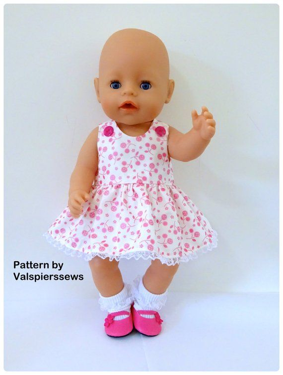 Baby Doll Pinafore, Fits popular 18 and 17 dolls, Easy to Sew, Valspierssews Doll Clothes Pattern