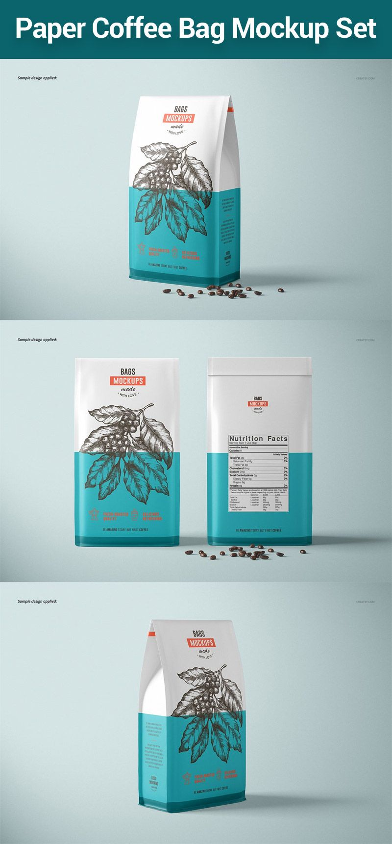 Download Paper Coffee Bag Mockup Set Bag Mockup Coffee Bag Design Coffee Bag