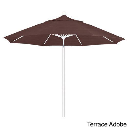 California Umbrella 9' Rd. Aluminum Frame, Fiberglass Rib Market Umbrella, Push Open, White Finish, Olefin Fabric (