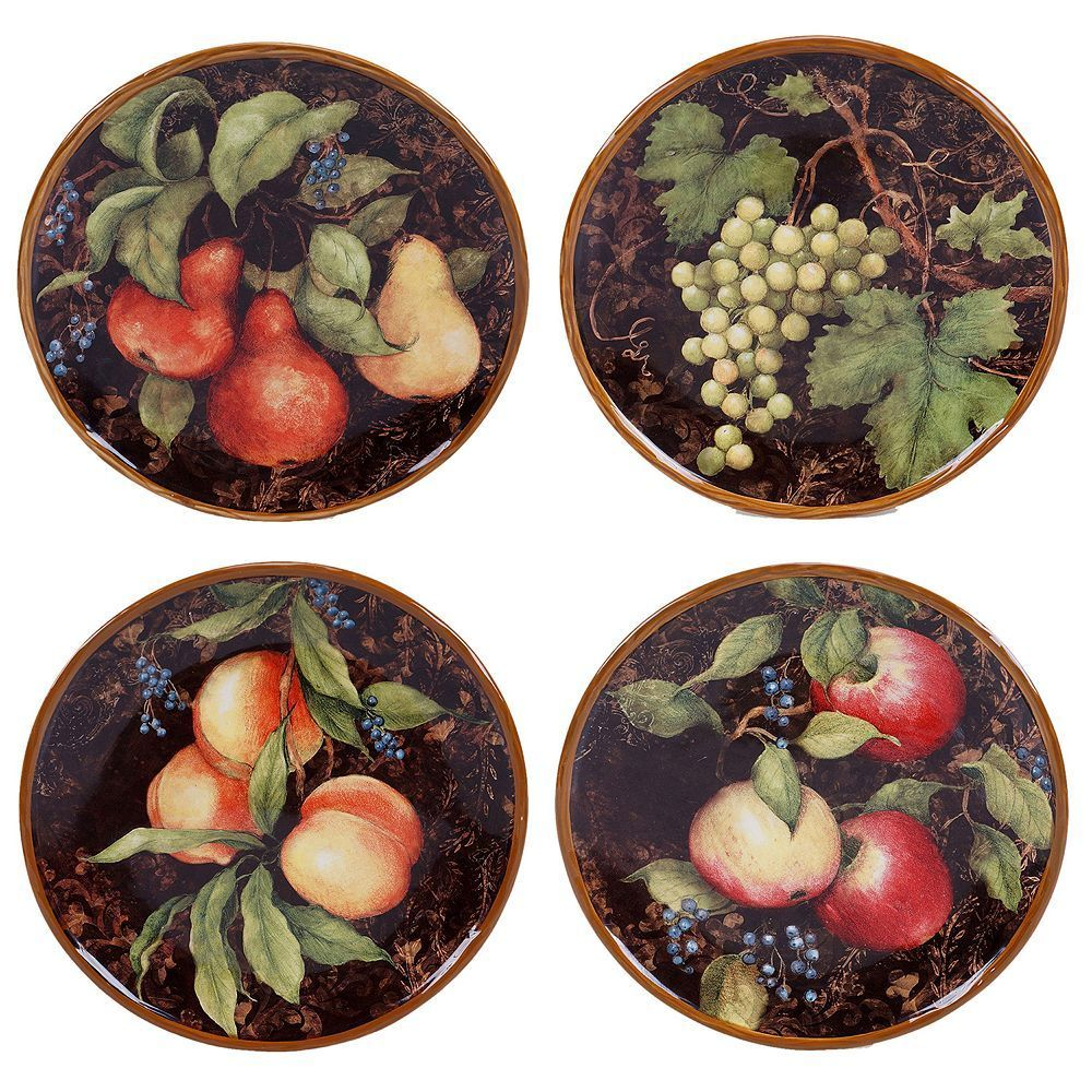 Certified international parisian fruit canister by susan winget set - Certified International Capri 4 Pc Dessert Plate Set Multicolor