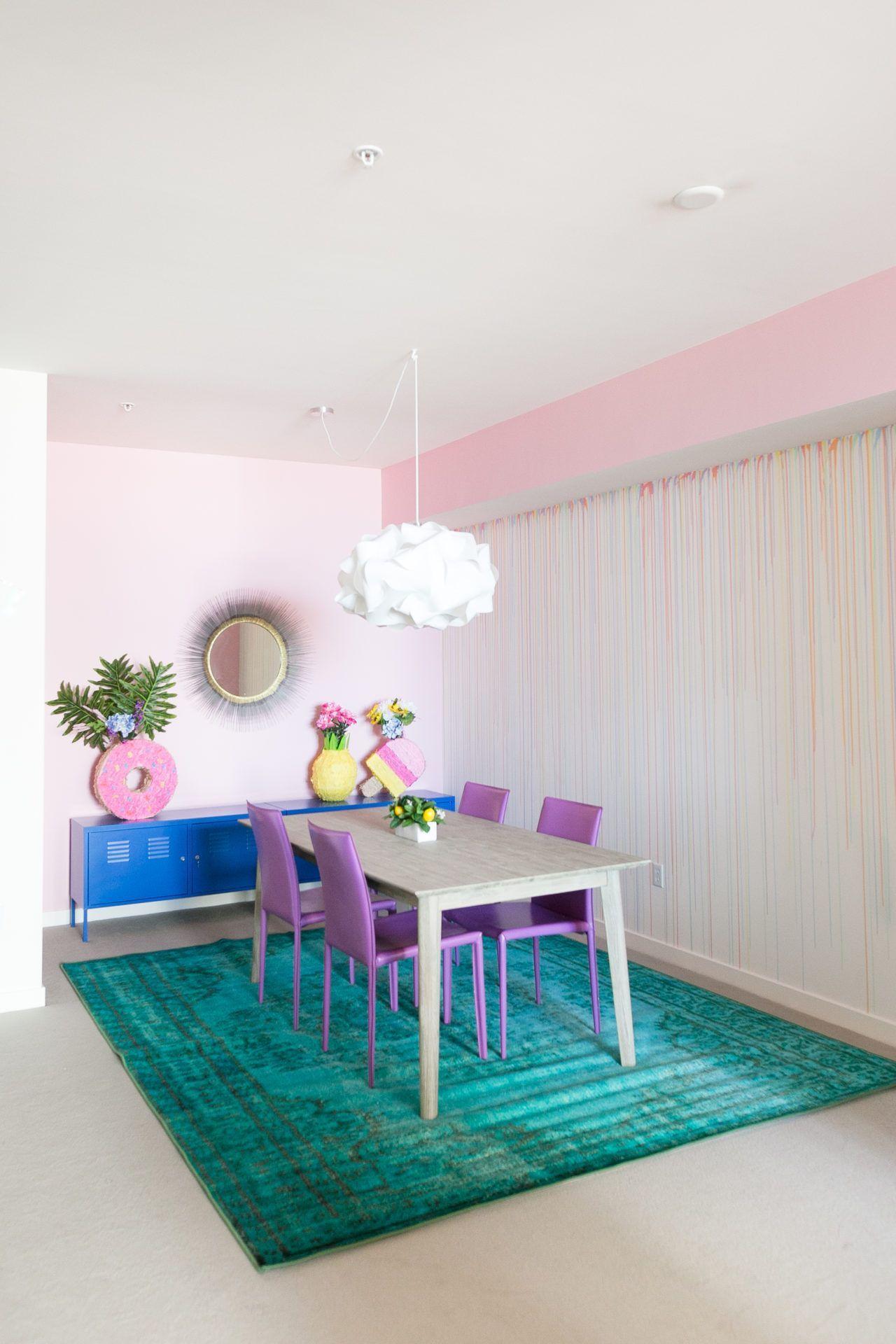 DIY Rainbow Drip Paint Wall Drip painting, Rainbow room