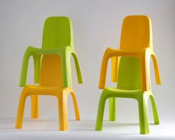 Keter Kids Chair 4 Pcs (Green + Yellow) In Polypropylene. Child Sized