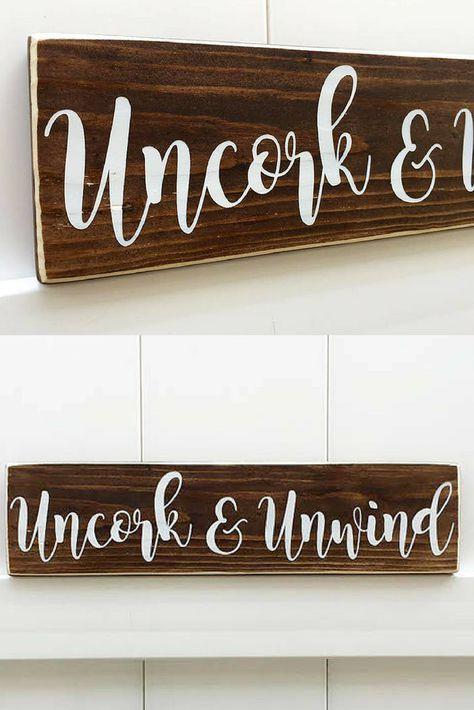 Wine Signs Decor Simple Uncork And Unwind Farmhouse Signperfect For The Kitchen Or Wine Decorating Design