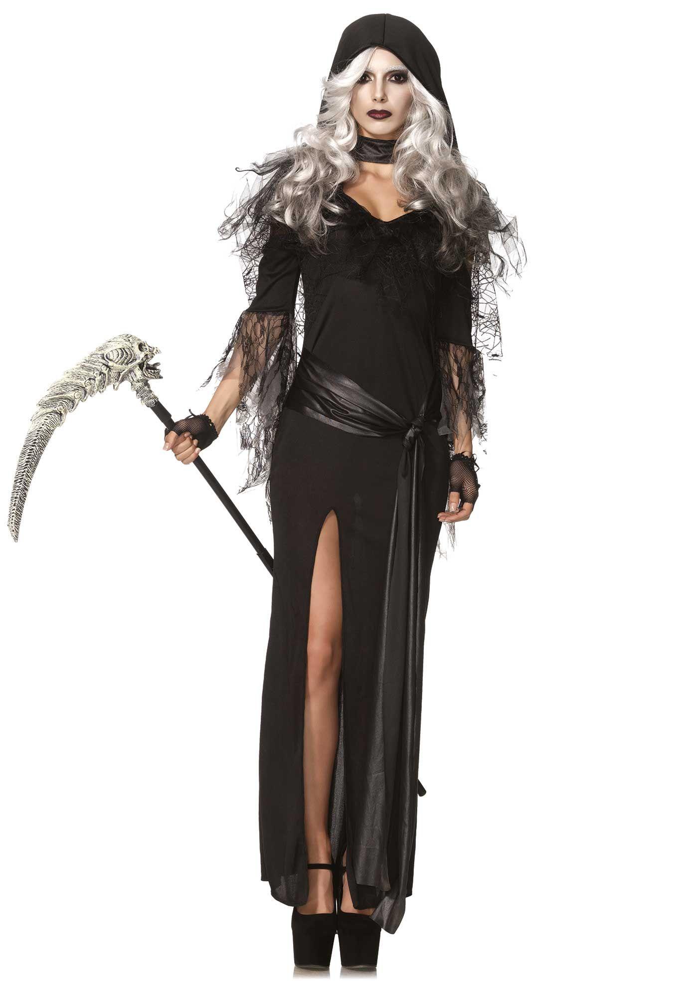 Halloween Fancy Dress Adult morte da Donna Nuovo Donna Costume da tristo mietitore