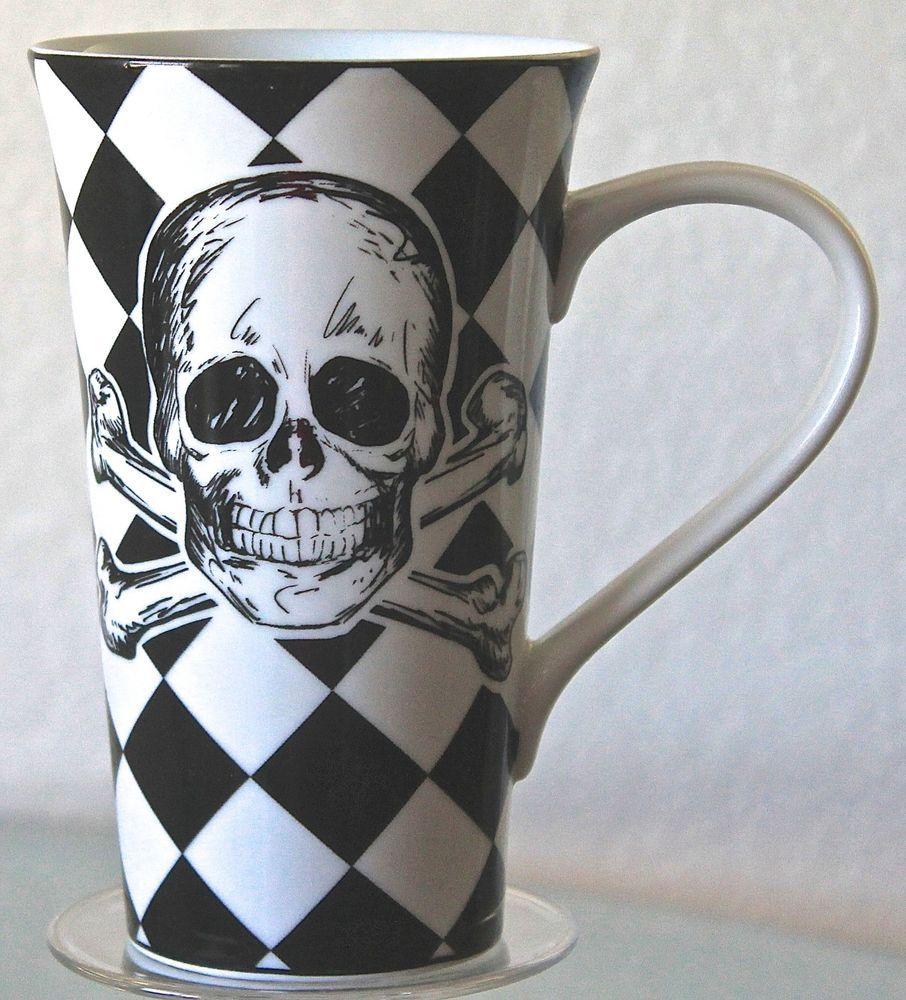 COVENTRY SKULLS LATTE CUP MUG BLACK WHITE CHECK TEA COFFEE