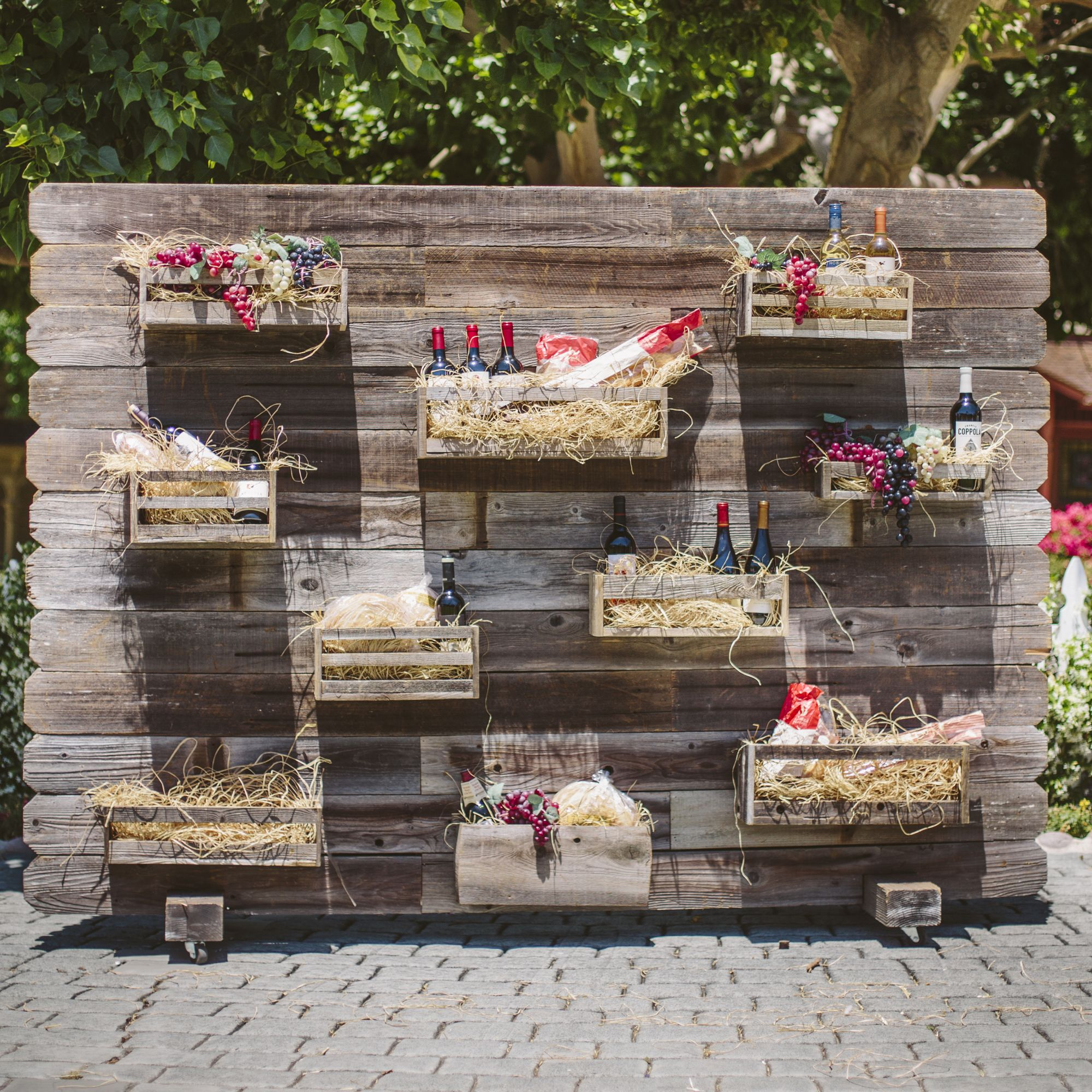 Reclaimed Wood Divider With Boxes That Can Be Attached To