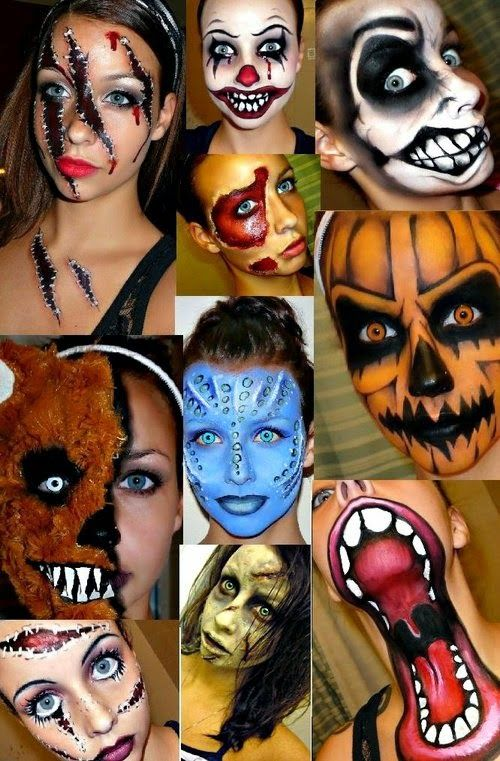 Halloween makeup ideas for Women with Scary paintings ~ haunted - best halloween face painting ideas