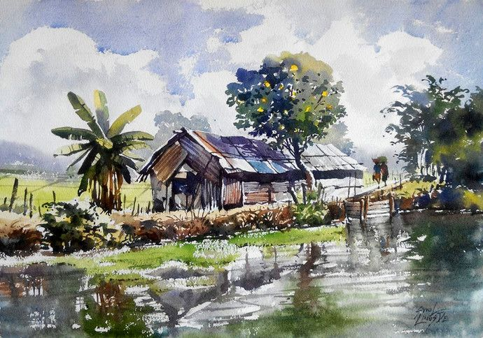 Sunil Linus De Famous Indian Artist Sunil Linus De Paintings Landscape Sketch Watercolor Landscape Paintings Painting