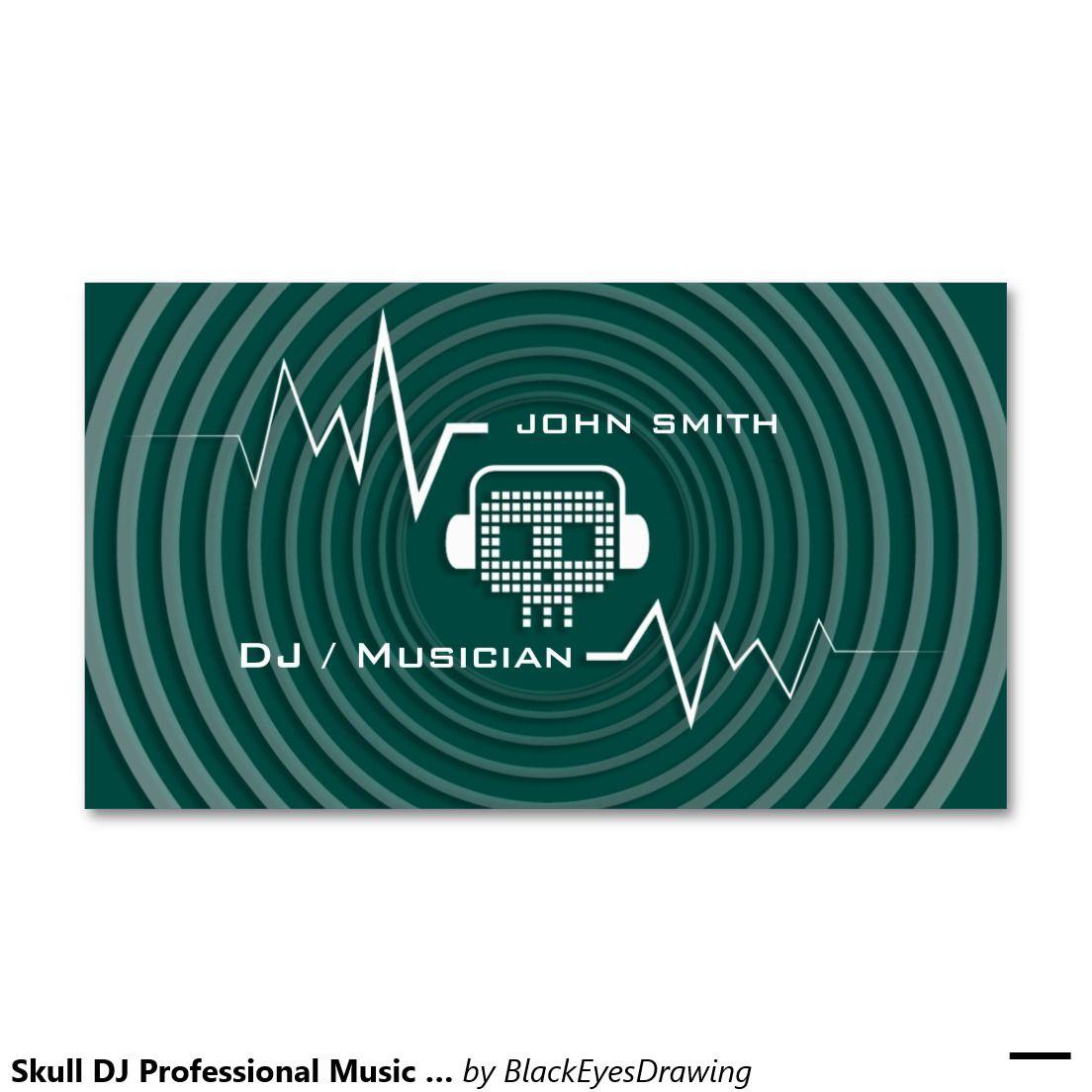 Skull DJ Professional Music Business Cards | DJ Business cards ...
