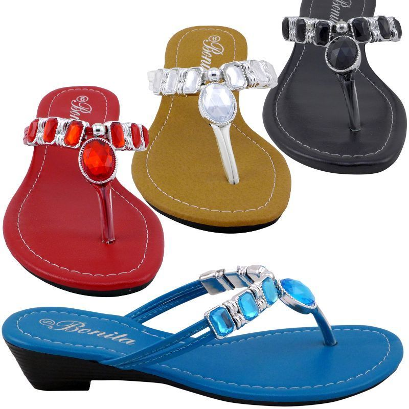 3a38ed6733d7 Womens Sandals Multicolor Jeweled Wedge Shoes Low Heels Flip Flops Thong  BABY-01