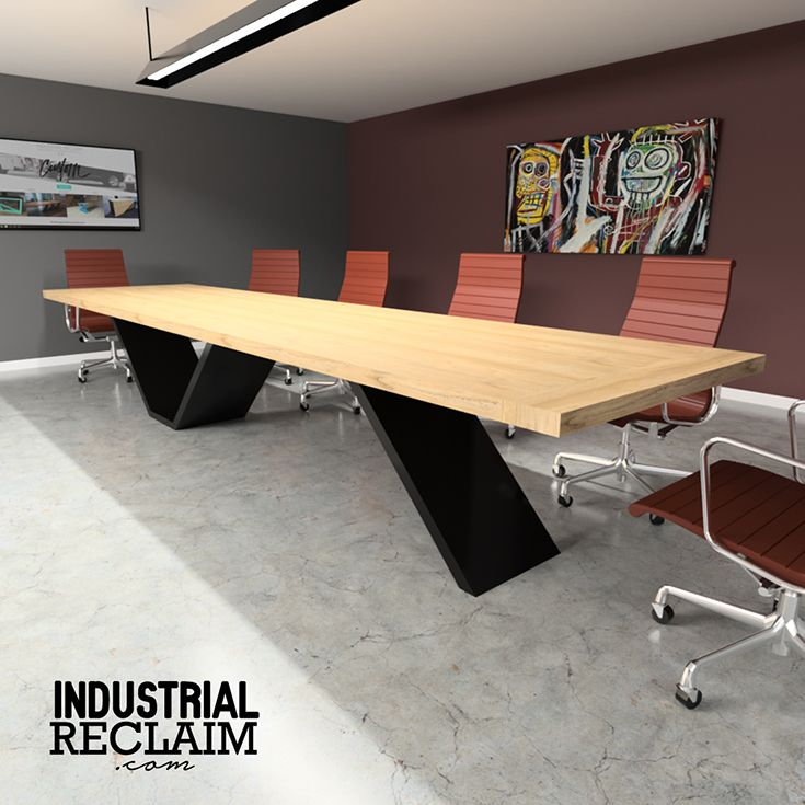 Custom Cantilevered Conference Table Modern Minimal Steel Wood Office Table Design Conference Table Design Industrial Office Design