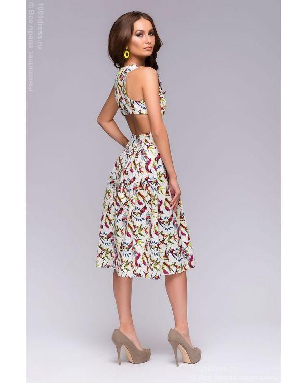 aebc10e3982 Белое платье длины миди с принтом