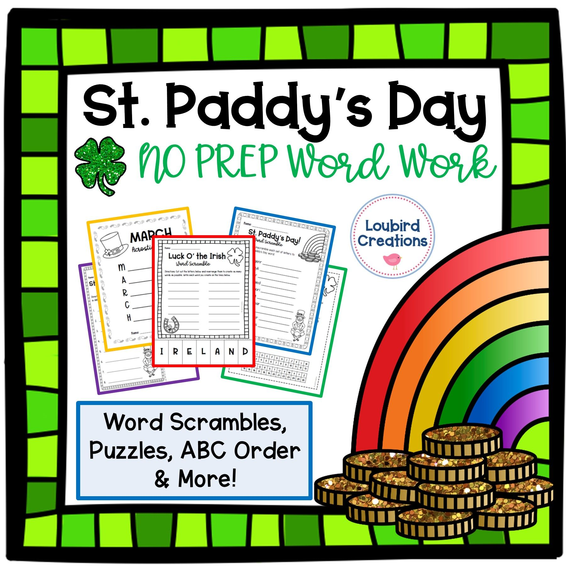 St Paddys Day No Prep Word Work Spelling