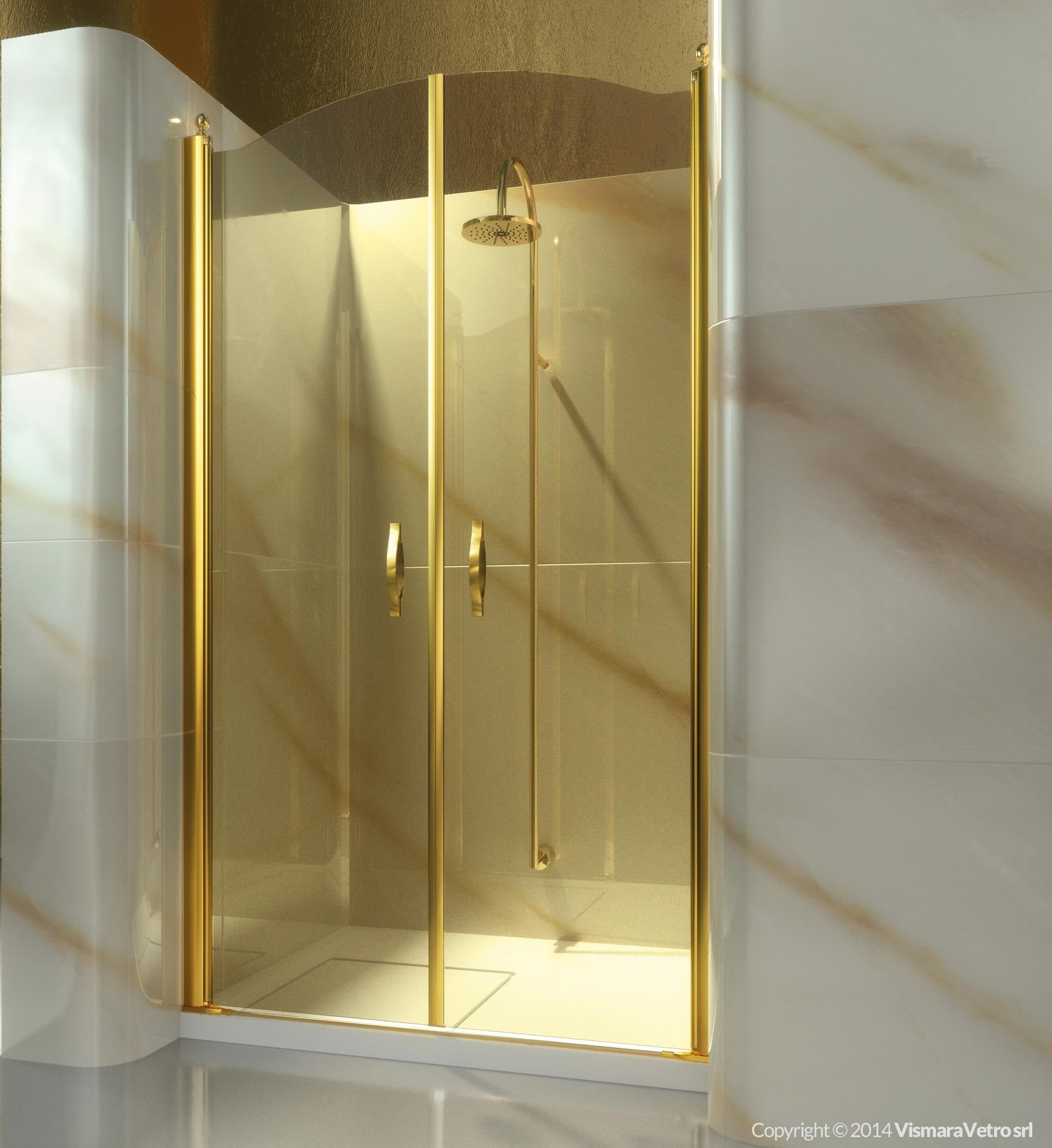 Frameless shower enclosure for recessed shower trays with a 180 ...