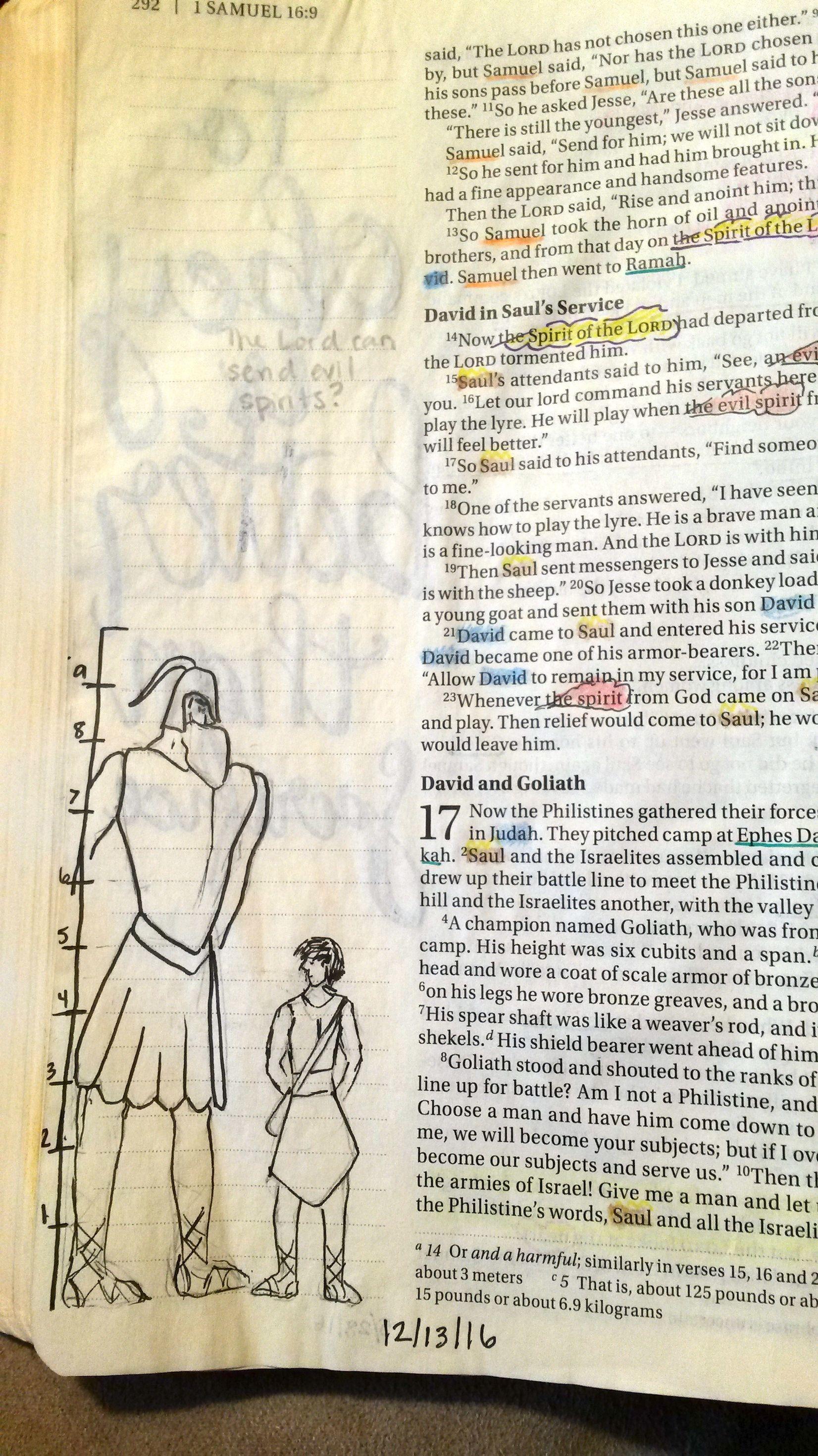 bible journaling 1 samuel 17 david and goliath height bible
