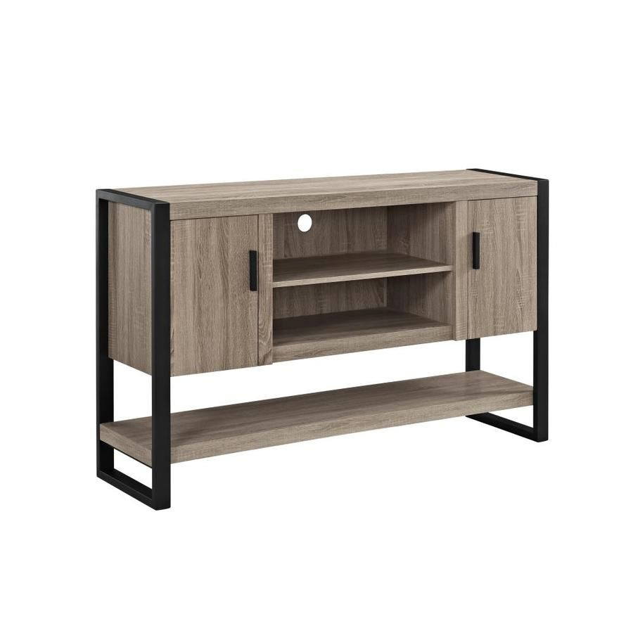 Walker Edison 60 In Industrial Wood Metal Tv Stand Driftwood
