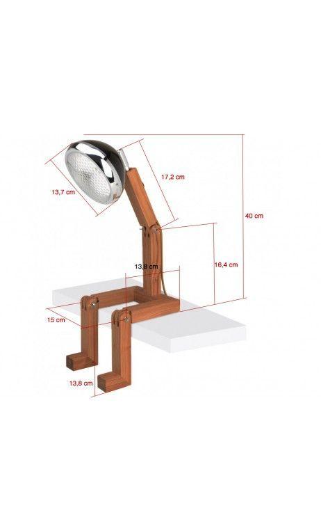 Lampe LED Bonhomme noire articulée en bois #articulée