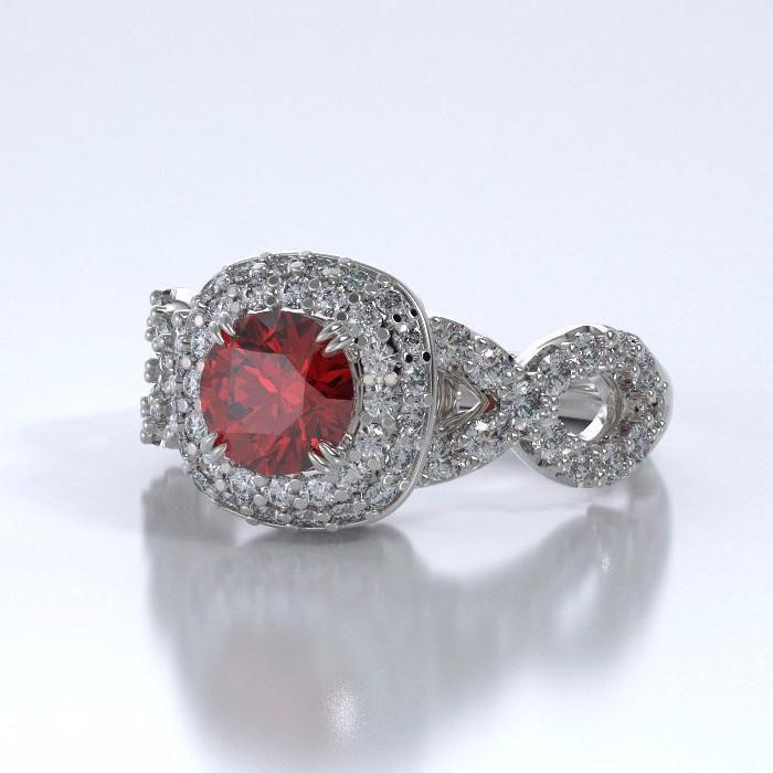 Memorial Jewelry Diamants Entourant Ring In 18k White
