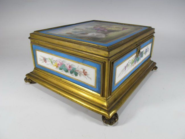 Antique Sevres bronze & porcelain jewelry box : Lot 55
