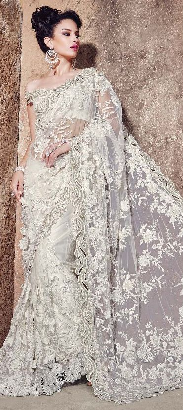 aea75631e6518a 180341 White and Off White color family Bridal Wedding Sarees in Super Net  fabric with Cut Dana, Lace, Patch work with matching unstitched blouse.