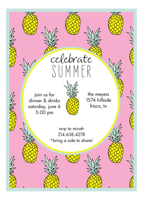 Pink Mod Pineapple Hawaiian Luau Invitations – End of Summer Party Invitations