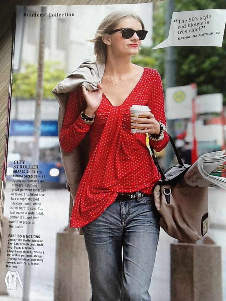 Burda Style 2013-02-113 draped shirt on jersey, looks very easy and comfortable