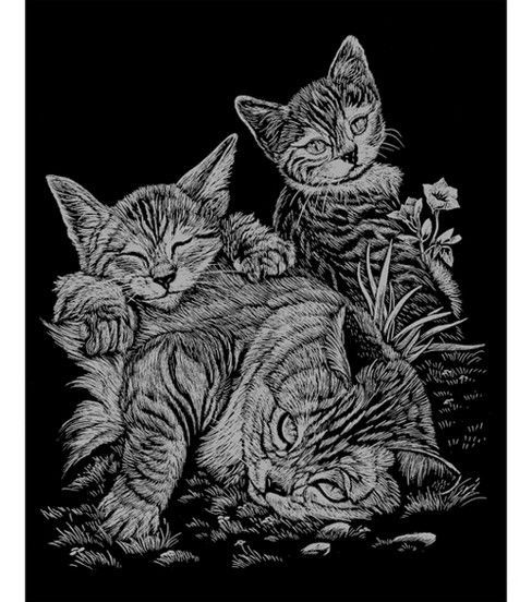 Royal and Langnickel Silver Engraving Art Tabby Cat and Kittens