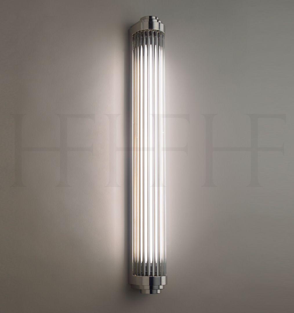 Bathroom Light Fixtures Art Deco bathroom sconce - comes in brass as well. rod pillar light, large