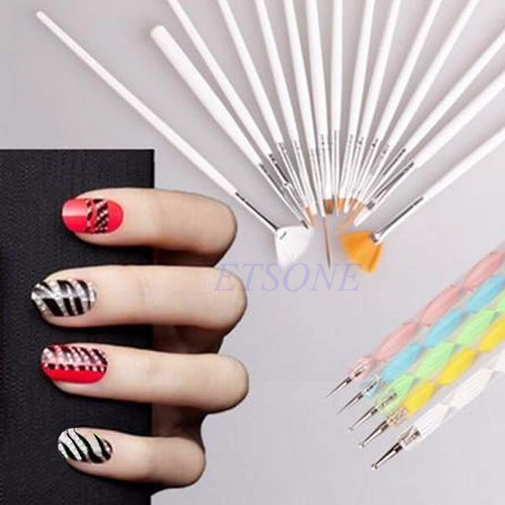 20pcs Nail Art Design Brushes Set Dotting Painting Drawing Polish