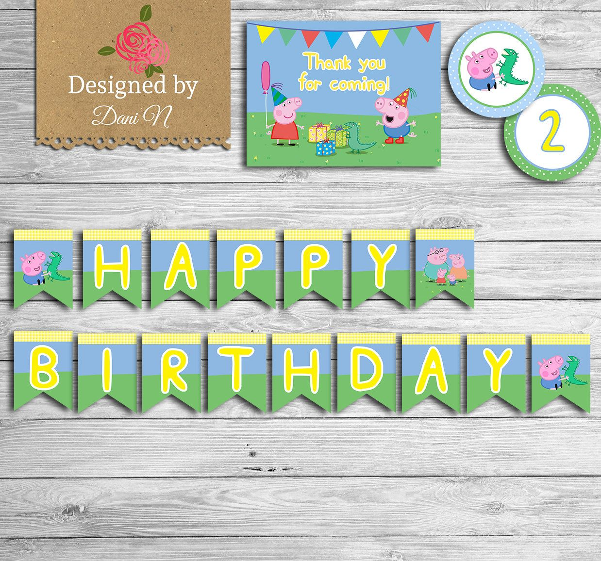 New To Designedbydanin On Etsy Peppa Pig Birthday Party Package