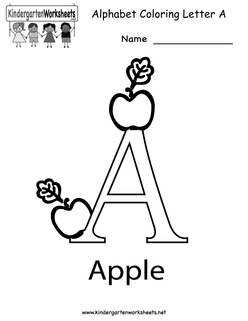 Kindergarten free colouring worksheets - Letter A Coloring Worksheet Free Worksheets For Preschoolers