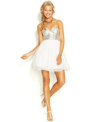 City Studios Juniors\' Sequin Sweetheart Dress - Juniors Dresses ...