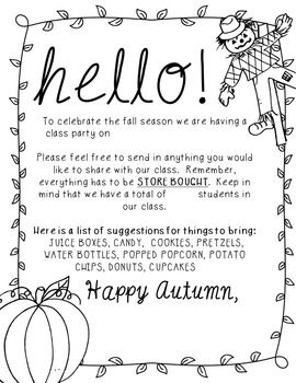 Editable Fall Party Letter To Parents 3rd Grade