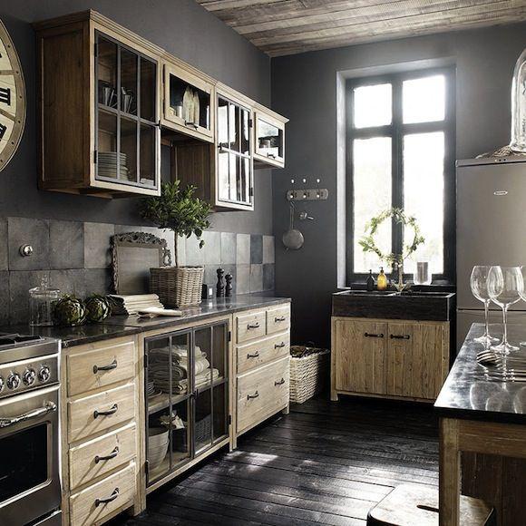 cocina, rústica, muebles madera color natural, armarios superiores ...